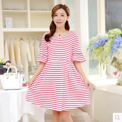 2018 summer maternity clothes pregnant dress loose V collar striped cotton short sleeve women fashion dress