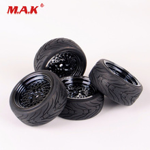 10362+21006 1:10 Scale Flat Rubber Tires and Wheel Rims with 6mm Offset fit HSP HPI RC On Road Racing Car Accessories