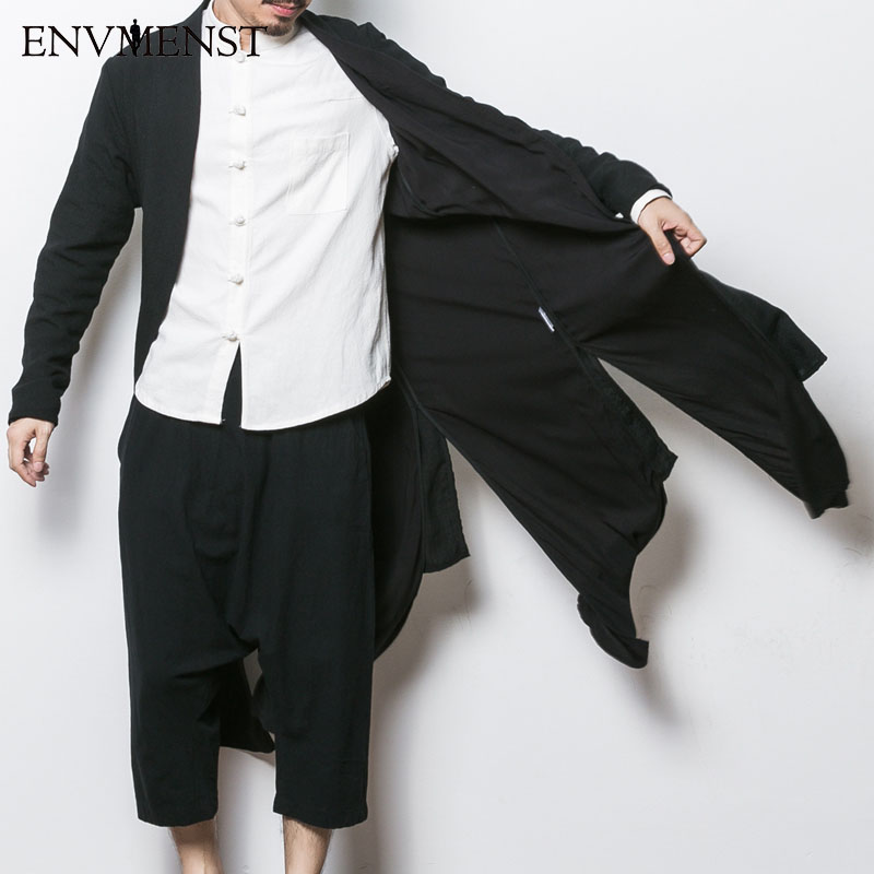 2017 China style men's trench jacket male spring autumn kimono cardigan coat punk fashion casual long trench outwear