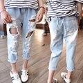 Winter Girl Pants 2017 Girls Jeans Kids Clothes Children Clothing Broken Hole Jeans For Girls Elastic Waist Denim Pants Trousers
