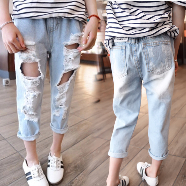 798bf380ddc Winter Girl Pants 2018 Girls Jeans Kids Clothes Children Clothing Broken  Hole Jeans For Girls Elastic Waist Denim Pants Trousers