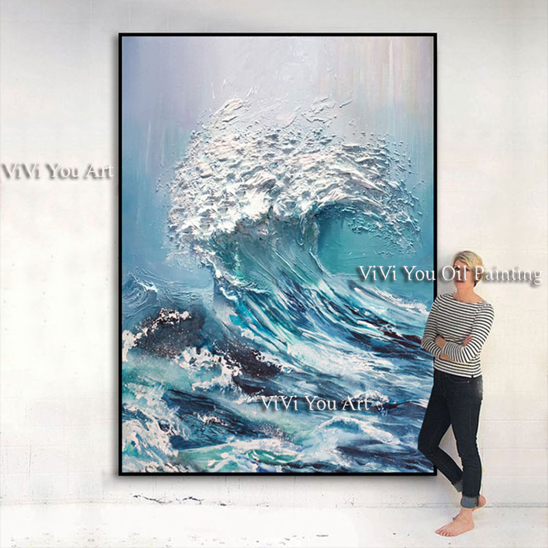 Image 3 - Large size Handpainted WALL Painting waves sea ocean stock wall 