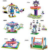 Funny city amusement park building block funland game trapeze Rotating aircraft Bumper car Swing jump machine ferris wheel toys
