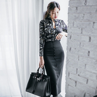 Korean Style Sexy Two Piece Set Black Printing Shirt Women Skirt Suit 2017 Spring Summer Chest