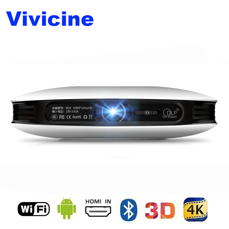 Vivicine 1080 P 3D 4 К проектор, Android WIFI HDMI USB Full HD Mini PC игры Главная Театр Кино Proyector 12000 мАч Батарея проектор