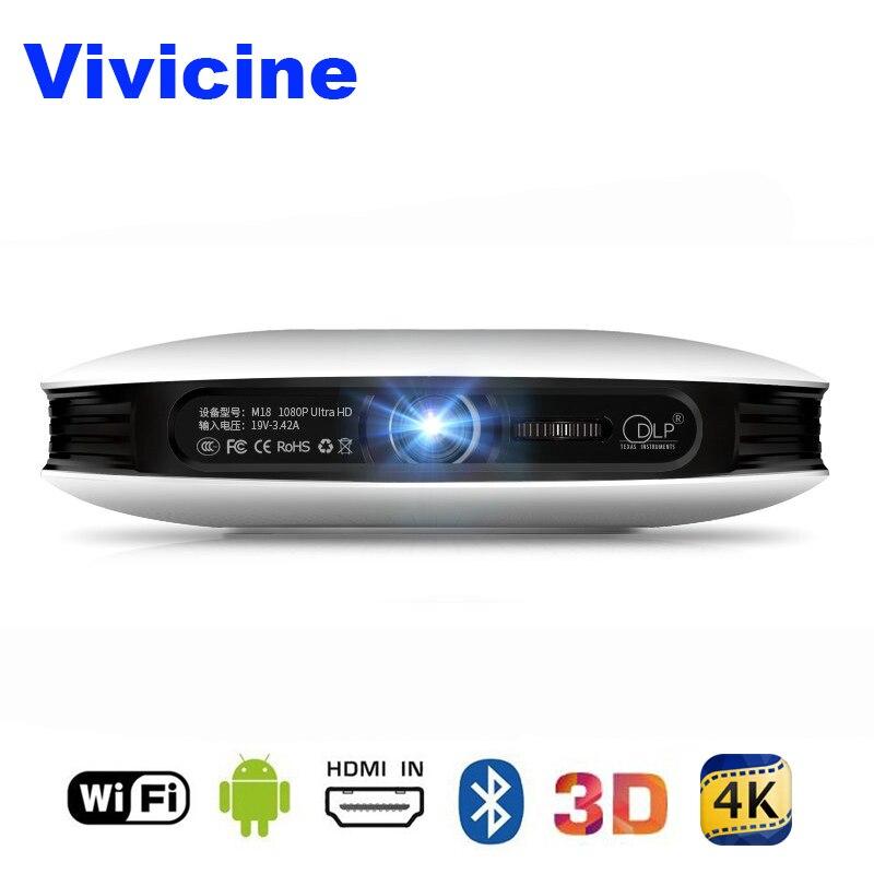 Vivicine 1080 p 3D 4 k Projecteur, android WIFI HDMI USB Full HD Mini PC Jeu Home Cinéma Cinéma Proyector 12000 mah Batterie Beamer