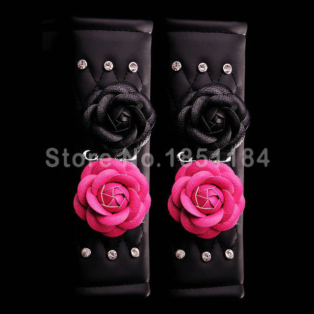Camellia Flower Rhinestone Leather Car Seat Safety Belt Covers 2pcs Car Interior Decoration - Rose Black
