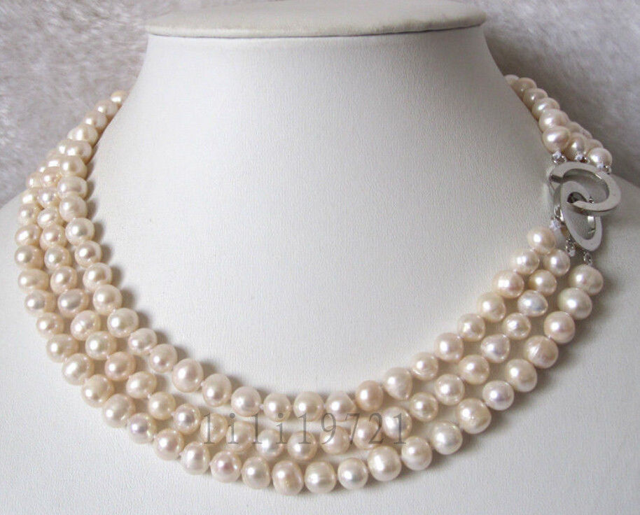 3 rows of 7-8mm white freshwater pearl beads necklace 43-49cm>Selling jewerly free shipping