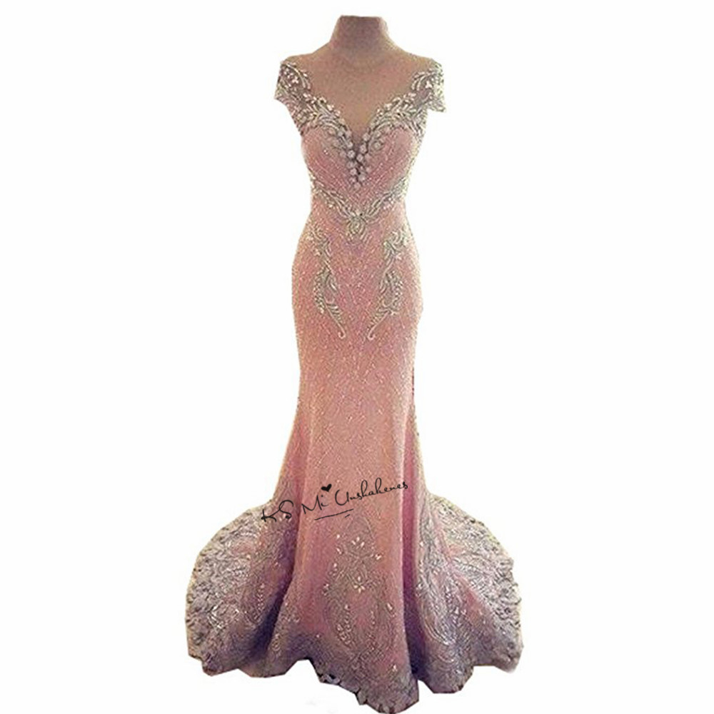 Pink Elegant Modest Long Prom Dresses 2018 Beads Lace Cap Sleeve Vestidos de Gala Backless Courte Formal Evening Party Gowns