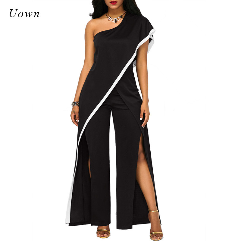 One Shoulder Black Wide Leg   Jumpsuit   Women Summer Loose High Split Long Pants Romper Ladies Elegant Evening   Jumpsuits   Outfits