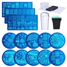 13Pcs Flower Forest Image Nail Plates + 2 Stamper Scraper Sets Art Stamping Stamp Plate Tools