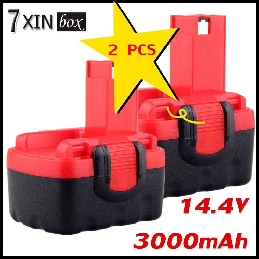 2pcs 14.4V 3000mAh Rechargeable Battery BAT038 BAT040 BAT041 BAT140 BAT159 For Bosch 3454SB 3660CK 2 607 335 264 / 2 607 335 685 bat041 electric drill battery 14 4v 2000mah ni mh cd for bosch bat041 bat140 bat038 bat040 2 607 335 711 14 4v 2 0ah battery
