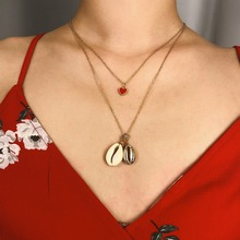 OLOEY New Street Women Necklace Sexy Summer Pendant Necklaces Lady Beach Holiday Casual Shell Multi-layer Choker Female Jewelry