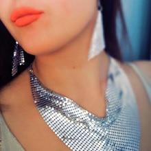MANILAI Indian Jewelry Set Chic Style Shining Metal Slice Bib Choker Necklaces Earrings Party Wedding Fashion Jewelry Sets 2018