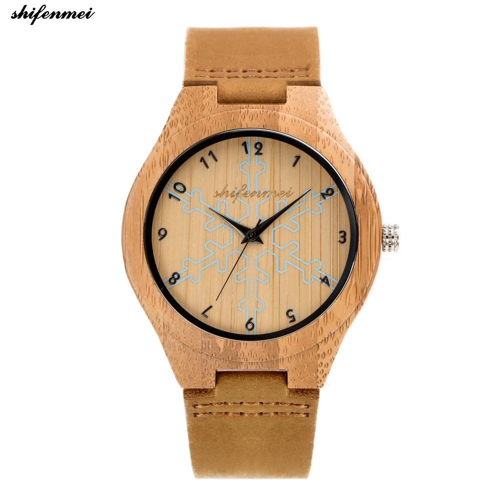 a2d1232d44e shifenmei S5537 Men   women Watch Simple Pure Analog Bamboo Clock Man  Genuine Leather Luxury Quartz wristwatch Watches