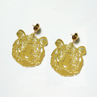 New Fashion Vintage Animal Earrings For Women Big Tiger Gold Mirror Acrylic Jewelry For Girls Brincos