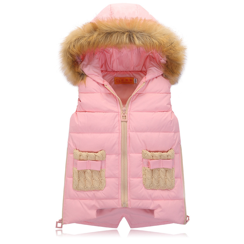 ФОТО New Girls Thick Princess Waistcoat Children Girls Pocket Hooded Waistcoat Vests Child Girls Winter Vest Baby Girl Warm Waistcoat