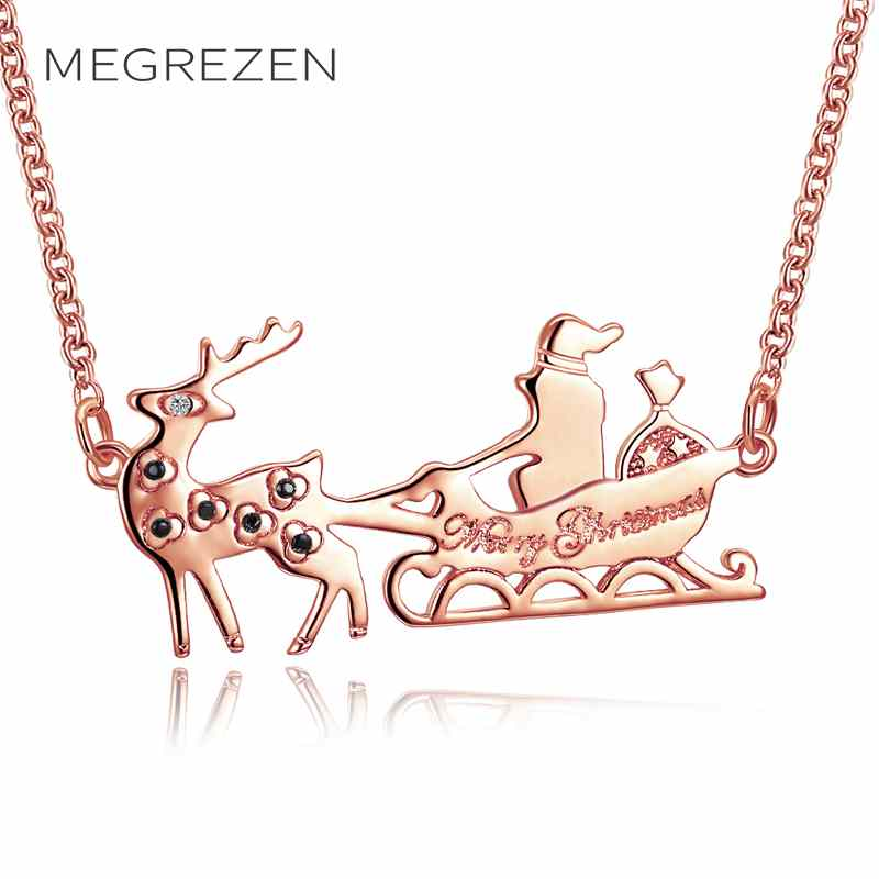 MEGREZEN Large Deer Necklaces Chokers On The Neck For Girls Christmas Gifts Rose Gold Color Chain Necklace Colar Feminino PN-5