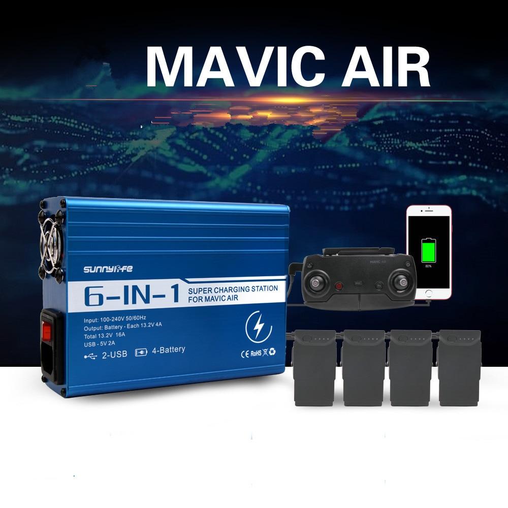 6in 1 Mavic Air Charging Hub Multi Battery Charger For DJI Mavic Air 2 USB Port Intelligent Battery Charger EU US Plug квадрокоптер dji mavic air eu onyx black