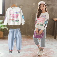 Children's clothing girls spring and autumn sports suits new small fresh fashion letter printed jeans two-piece(China)