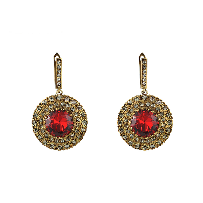 Women Crystal Drop Earring 2016 New Retro Red Imitation diamonds earrings broadside Vintage Earrings Dangle Earrings for women
