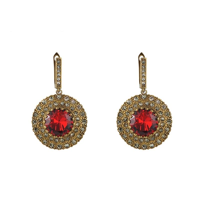 Women Crystal Drop Earring 2016 New Retro Red Imitation diamonds earrings broadside Vintage Earrings Dangle Earrings for women