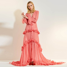 цена Bohoartist Women Party Dress Elegant Petal floor length plaid Long Dresses pink v neck plus size ruffle fashion sweet maxi dress