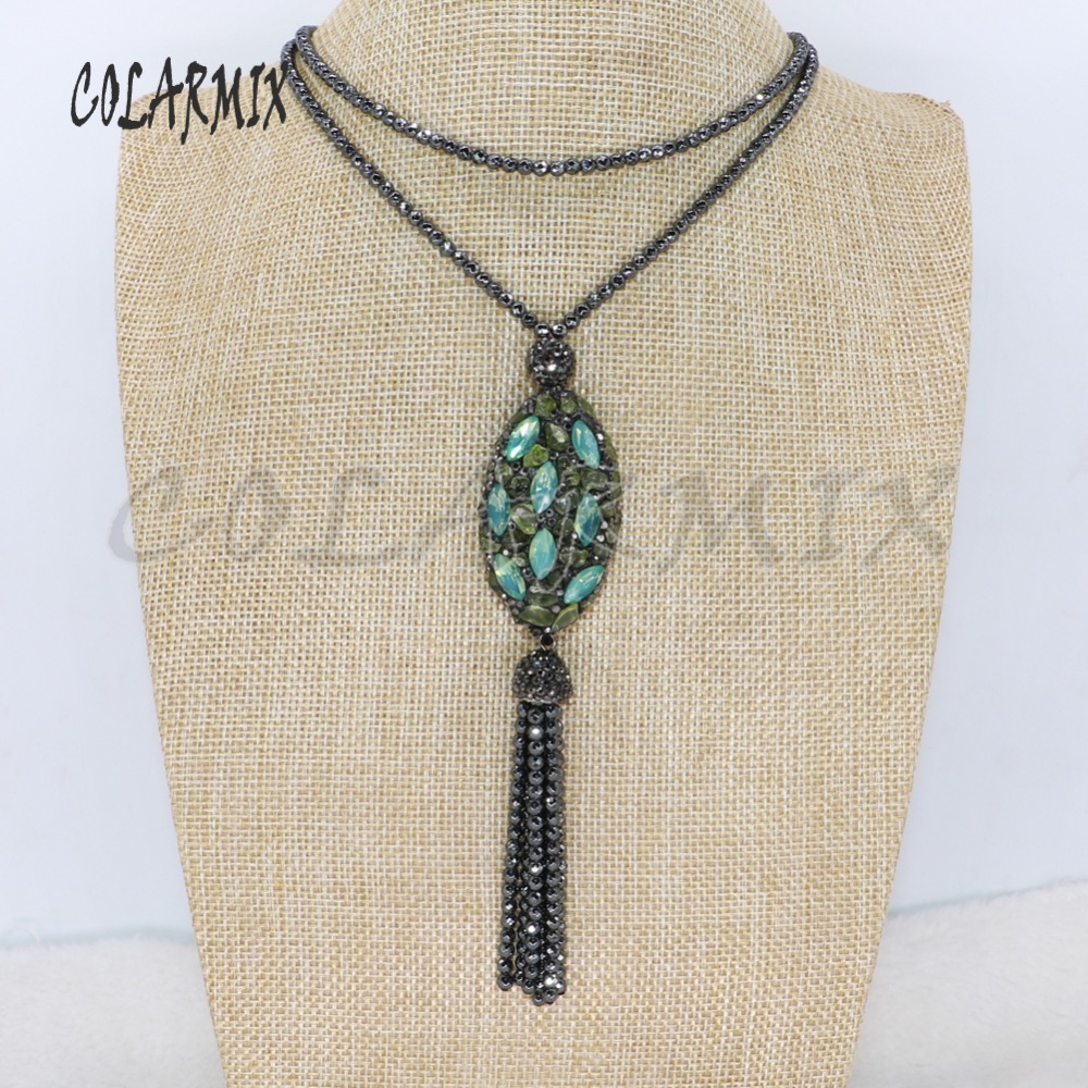 4 Strand High quality hematite beaded necklace Stone bead tassel pendant necklace fashion jewelry necklace for