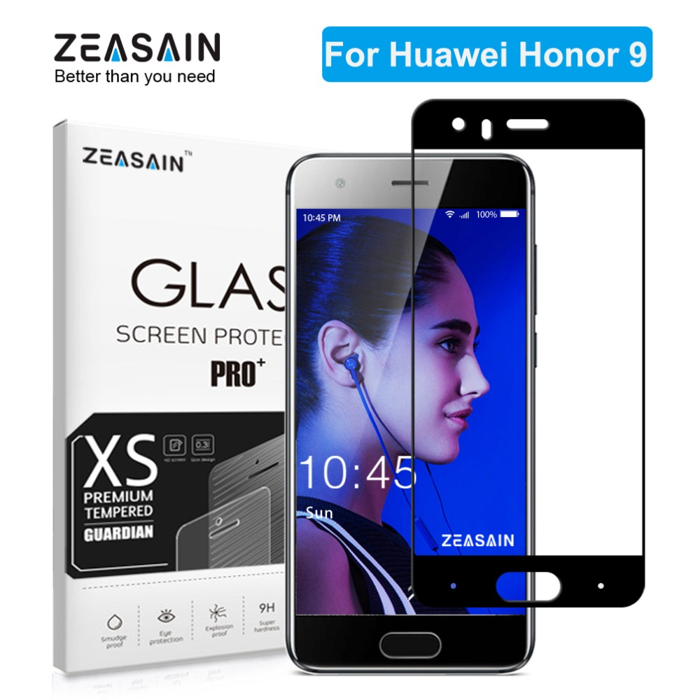 Αυθεντικό ZEASAIN Full Cover Tempered Glass για Huawei Honor 9 Honor9 Screen Protector 9H 2.5D Toughened Safety Glass Film