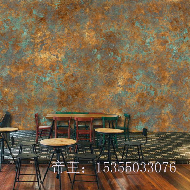 US $16 79 40% OFF Tuya Art vintage industrial rust hand painting poster  mural wallpaper for coffee bar restaurant wall paper large-in Wallpapers  from