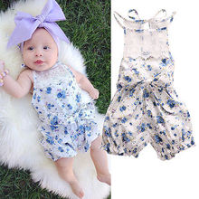 Newborn Baby Girl Floral Romper Fashion Toddler Floral Jumpsuit Cute Infant Summer Outfits Kids Blue Flowers Sunsuit Clothes
