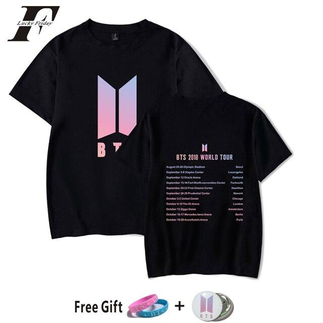 105a37c9ce179 2018 Kpop BTS 2018 WORLD TOUR Concert List T Shirt Women Men Summer O-Neck  Short Sleeves cotton T Shirts Bangtan Boys tee Tops