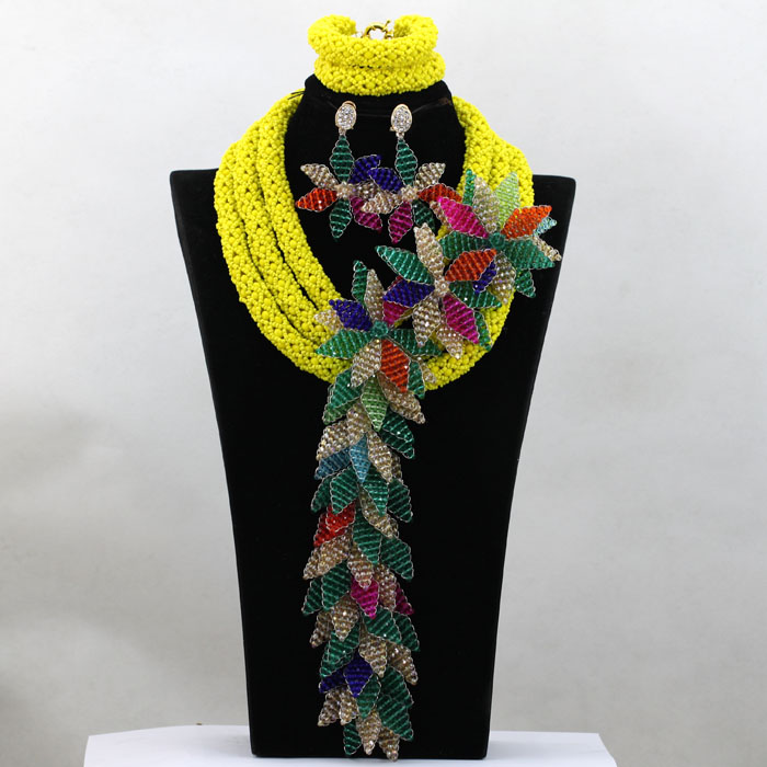 Charming Yellow Wedding Beads Bridal Necklace Set for Women 2017 Luxury Teal Green Floral Fall Beads Set Free Shipping WA681 charming woven floral rivet bracelet for women