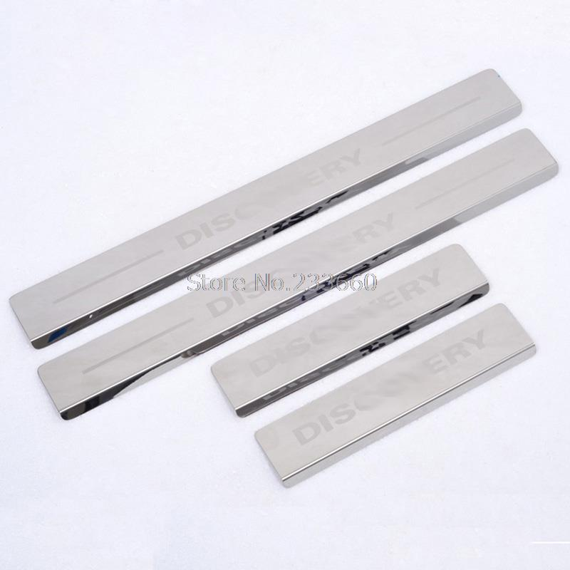 Door sill scuff plate Threshold Pad Tread Plate Welcome Pedal Fit LAND ROVER DISCOVERY 3/4 LR3 LR4 2005-2014 - Charming Car Accessories Mall store