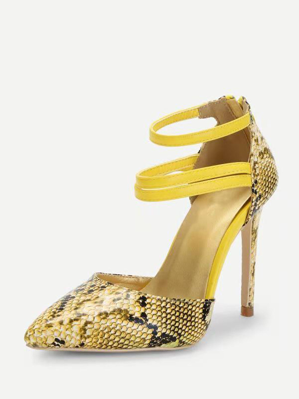Pompes Feminina Nouveau Haute Simples Pointu Sexy De Femme Bout Pied Peau Serpent Sandalia Motif jaune Anneau Muqgew Sandales Pour Chaussures Talon Blanc a4AqBxBwn