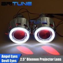 "Upgrade 8.0 Lenses in Headlight Mini 2.5"" HID Bixenon Projector Lens LED COB DRL Angel Devil Eyes Halo H1 H4 H7 Headlamp DIY"