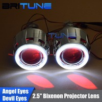 Upgrade 8.0 Lenses in Headlight Mini 2.5'' HID Bixenon Projector Lens LED COB DRL Angel Devil Eyes Halo H1 H4 H7 Headlamp DIY