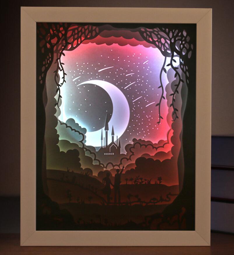 USB coloré 3D papier coupe météore cadre photo ombre nuit lumière pour la maison bureau décorer anniversaire faveur cadeau Souvenirs