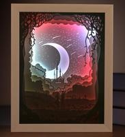 USB Colorful 3D Paper Cut Meteor Picture Frame Shadow Night Light For Home Office Decorate Birthday