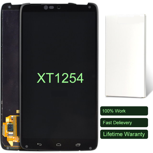 10pcs Grade Quality Display For Motorola Moto XT1254 LCD With Touch Screen Digitizer Assembly With Tempered Glass Black 5.2 Inch