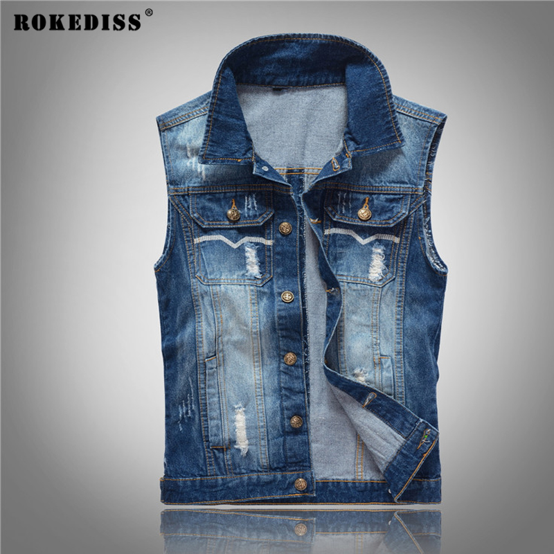 ROKEDISS 2017 New Vintage Design Men s Denim Vest font b Male b font Slim Fit