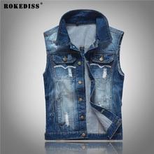 ROKEDISS 2017 New Vintage Design Men's Denim Vest Male Slim Fit Sleeveless Jackets Men Brand Hole Jeans Waistcoat W087