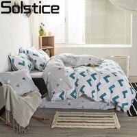 Solstice 100% Cotton Simple Green Geometric Arrow Print 4pcs Bedding Sets Duvet Cover Sets Pillowcase Bedclothes Queen King Size