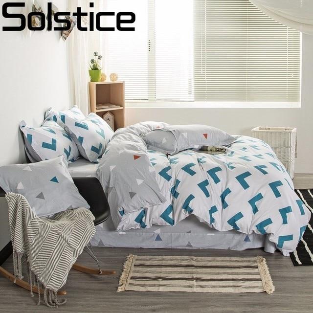 solstice 100 cotton simple green geometric arrow print 4pcs bedding sets duvet cover sets pillowcase