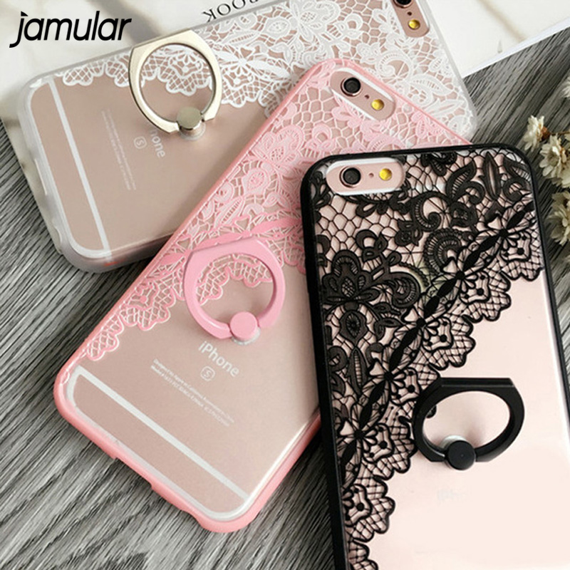 JAMULAR Sexy Lace Floral Pattern Case For iPhone 8 7 Plus