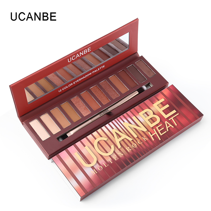 Ucanbe бренд 12 Цветов Shimmer расплавленный рок тепло красный коричневый тыквы для век Макияж Палитры Nude Matte дымчатый Тени для век косметика