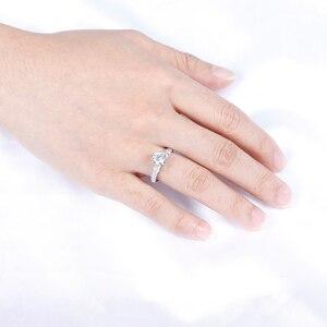 Image 5 - DovEggs 14K beyaz altın merkezi 1ct karat 6.5mm F renk Moissanite elmas nişan yüzükleri yüzük alyans vurgular
