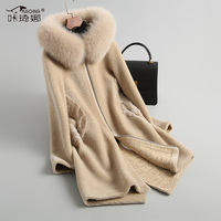 100% wool jacket mink fur coat autumn winter coat women clothes 2018 fox fur hooded korean vintage slim real fur coat 18061ZT914