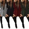 Корсет V Шеи Женщины Повседневная Осень Зима Флис Мода Рубашка Нерегулярные Рубашка Мини-Платье