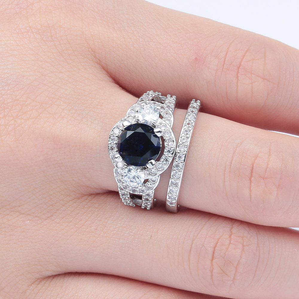 romantic luxury promise Rings sets blue green zircon new women ...